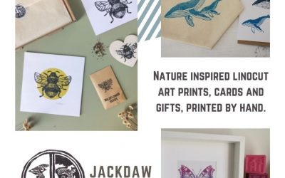 Nature inspired linocut art and gifts by Kent based Jackdaw And Bear